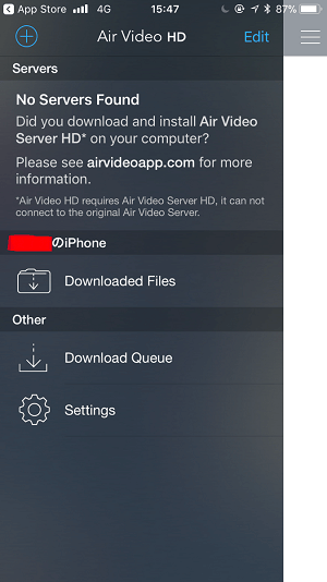 Air Video HDのアプリの設定画面2